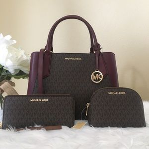 3PCS Michael Kors kinsley satchel wallet&cosmetic